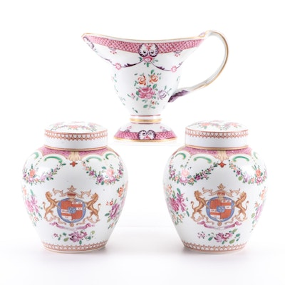 Edmé Samson Chinese Export Style Armorial Sauce Boat and Ginger Jars, 19th C.
