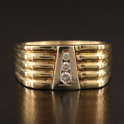 14K Graduated Diamond Three Stone Ring