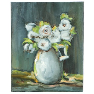 Floral Still Life Oil Painting of White Flowers in Vase