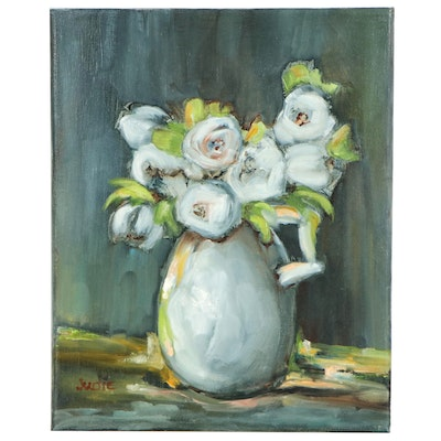 Judie Mulkey Floral Still Life Oil Painting of White Flowers in Vase