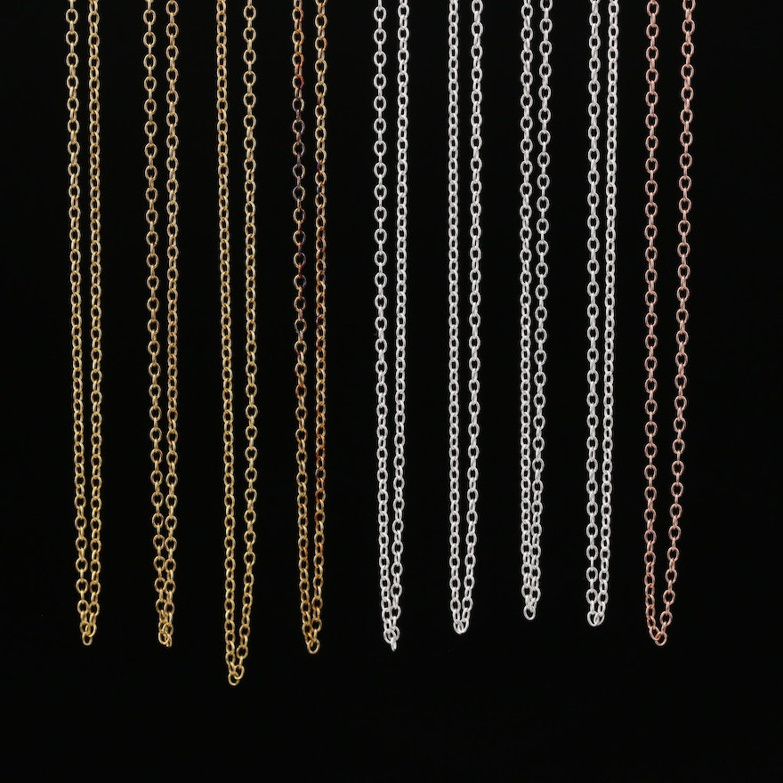 Sterling Silver Cable Chain Necklaces