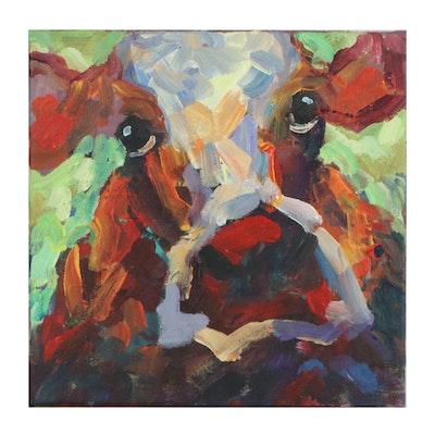 Elle Raines Cow Portrait Acrylic Painting, 21st Century
