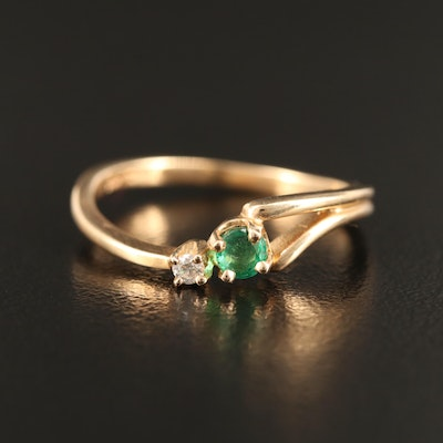 14K Emerald and Diamond Asymmetrical Band