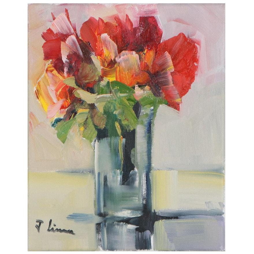 José M. Lima Floral Still Life Oil Painting, 21st Century