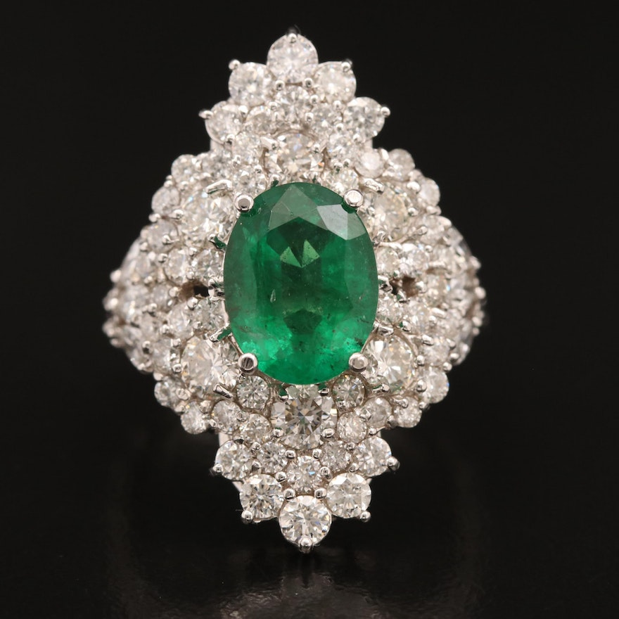 14K 3.15 CT Emerald and 3.74 CTW Diamond Navette Ring