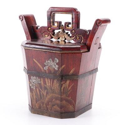 Chinese Gilt Decorated Rosewood Water Bucket, 20th Century