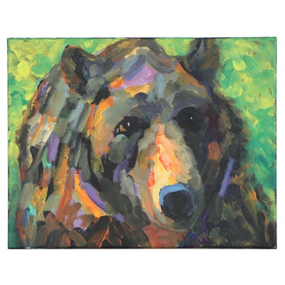 Elle Raines Acrylic Painting of Bear, 21st Century