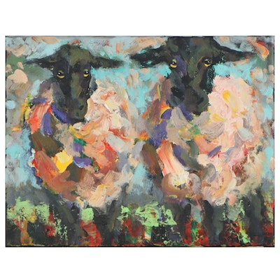 Elle Raines Acrylic Painting of Two Sheep