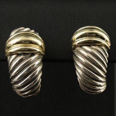 David Yurman Sterling J-Hoop Earrings with 14K Accents