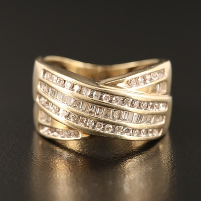10K Diamond Crossover Ring