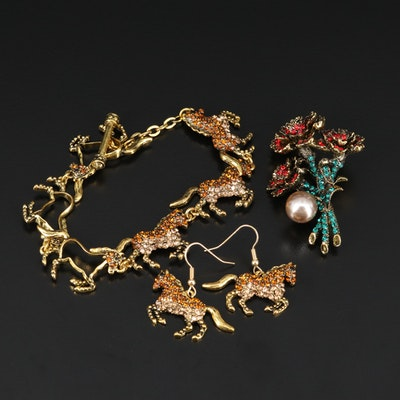 Faux Pearl, Glass, Rhinestone Floral Brooch with Horse Bracelet and Earring Set