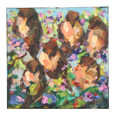 "Elle Raines Acrylic Painting of Birds and Flowers ""Sparrows"""