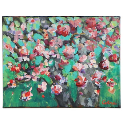 Impressionistic Acrylic Painting of Flowering Tree