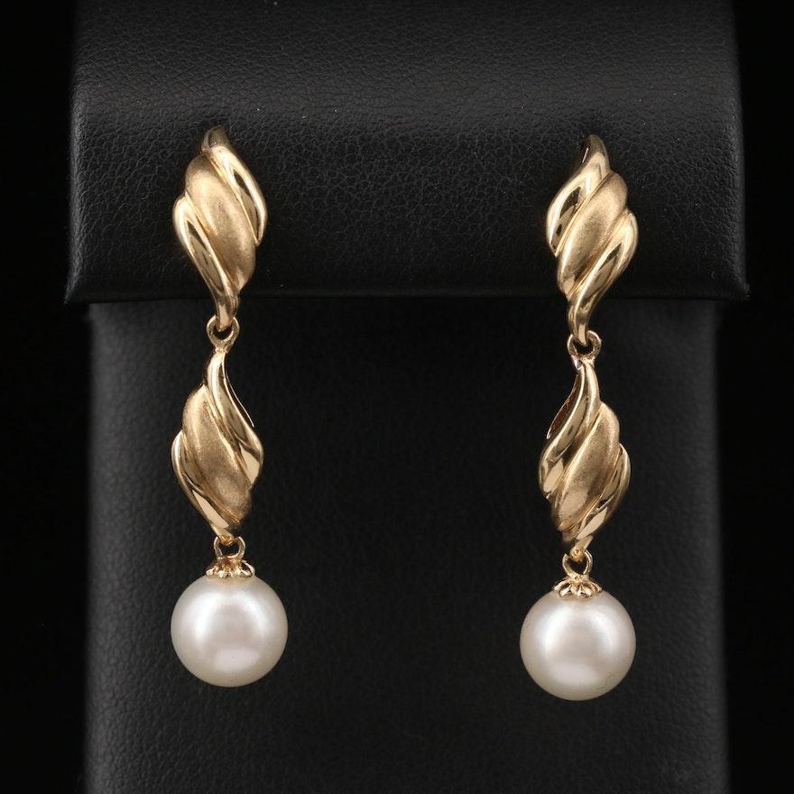 14K Pearl Dangle Earrings