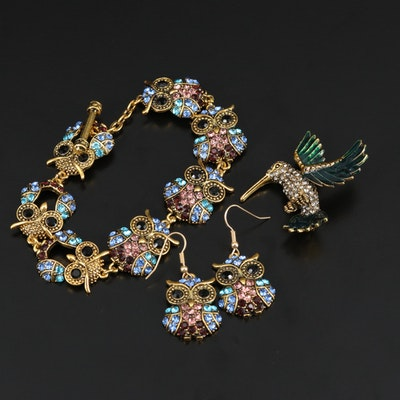 Rhinstone Owl Bracelet and Earring Set Including Hummingbird Brooch