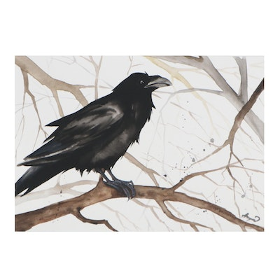 Anne Gorywine Watercolor Painting of Raven on Tree Branch