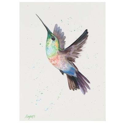 Anne Gorywine Watercolor Painting of Hummingbird