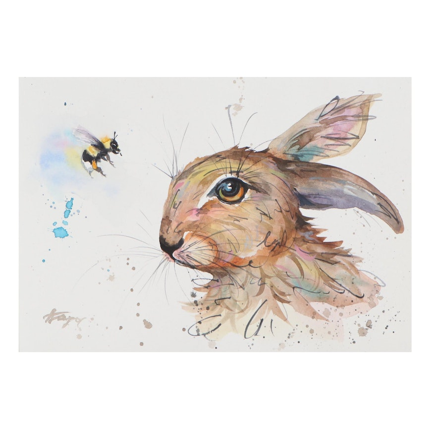 Anne Gorywine Watercolor Painting of Rabbit and Bee, 21st Century