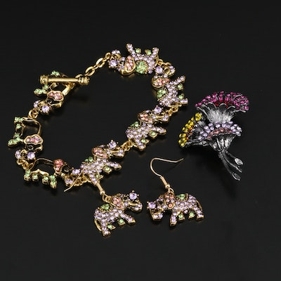 Rhinestone Elephant Bracelet and Earring Set with Floral Brooch