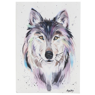 Anne Gorywine Watercolor Painting of Wolf, 2020