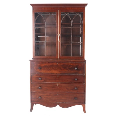Federal Style Mahogany Secretary Bookcase, Late 19th/Early 20th Century