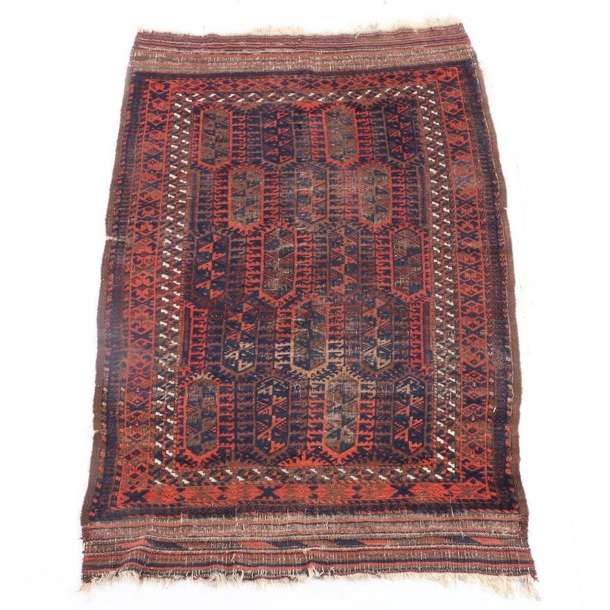 4'1 x 7'2 Hand-Knotted Afghani Bokhara Wool Rug