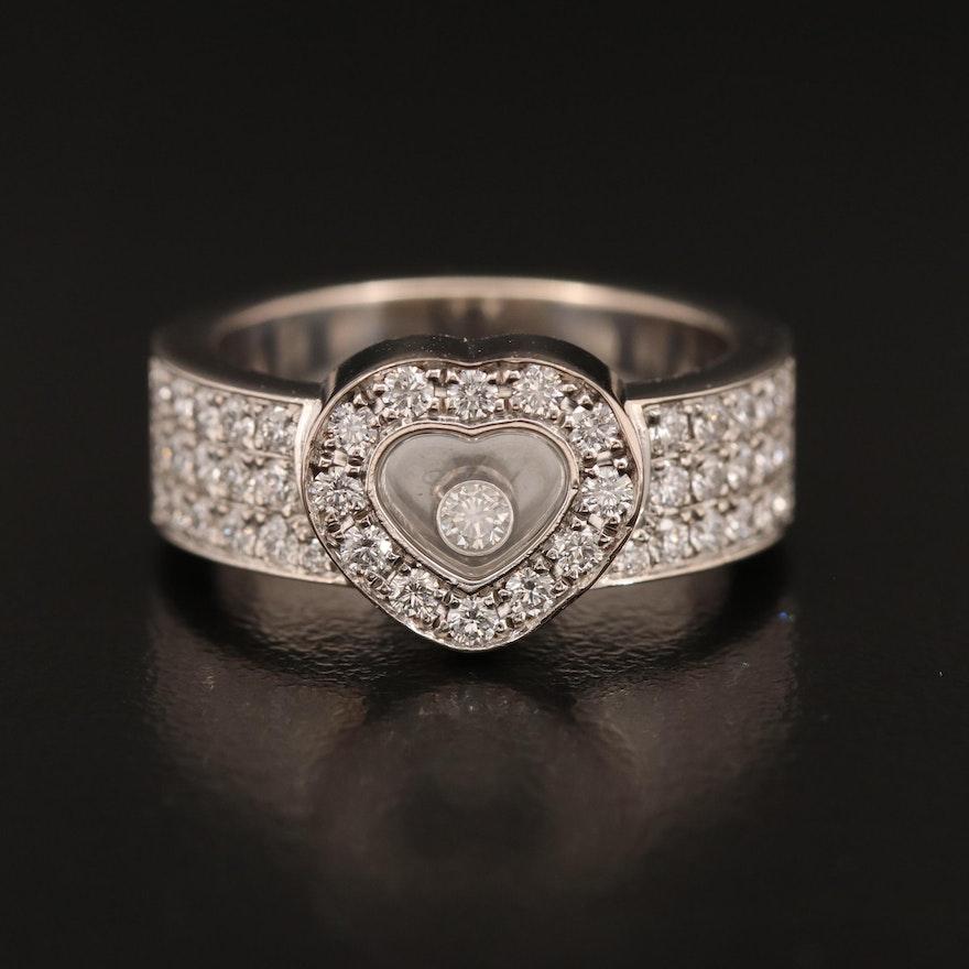 """Chopard 18K """"Happy Diamonds"""" Floating Heart Ring"""