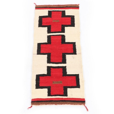 1'4 x 3'0 Handwoven Southwest Style Red Crosses Wool Rug