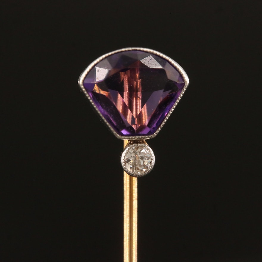 Vintage 14K Amethyst and Diamond Stick Pin with Platinum Accents