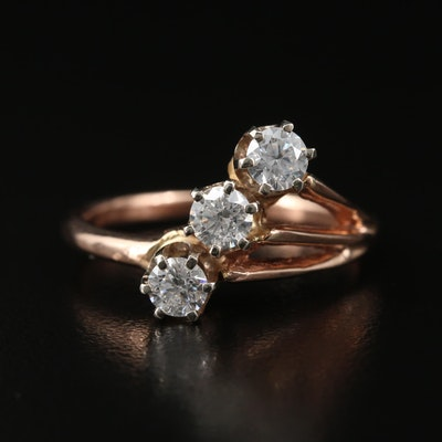 14K Three Diamond Ring
