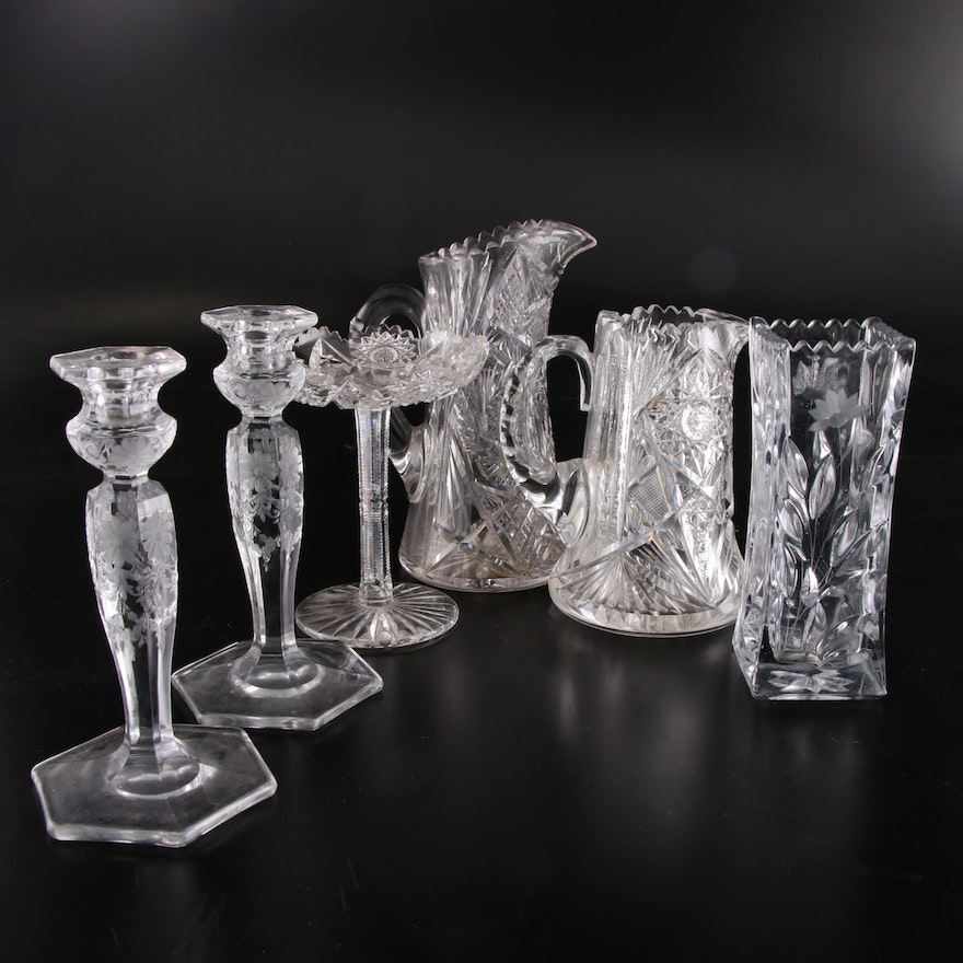 American Brilliant Cut Glass Tableware and Etched Glass Candlesticks