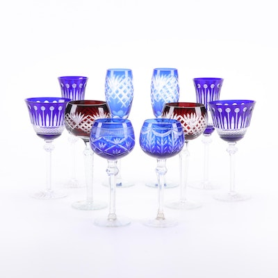 Godinger and Other Cobalt and Ruby Cut to Clear Crystal Stemware, Late 20th C.