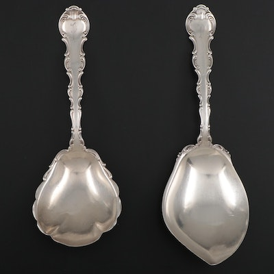 "Gorham ""Strasbourg"" Sterling Silver Vegetable and Berry Serving Spoons"