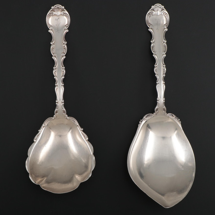 """Gorham """"Strasbourg"""" Sterling Silver Vegetable and Berry Serving Spoons"""