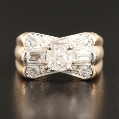 14K Moissanite and Diamond Ring with Fluted Shoulders