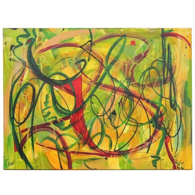 "Susan Crew Abstract Painting ""Red Bird in the Garden,"" 2020"