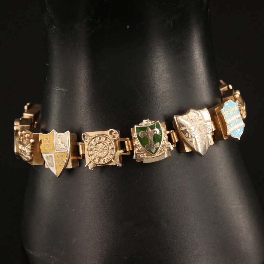 Enamel Heraldry Motif Link Bracelet
