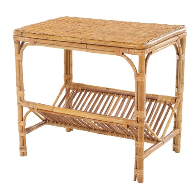 Pier 1 Imports Bamboo and Wicker Two-Tier Side Table with Book Trough