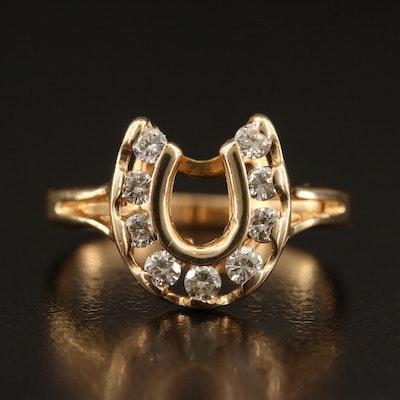 14K Diamond Horseshoe Ring