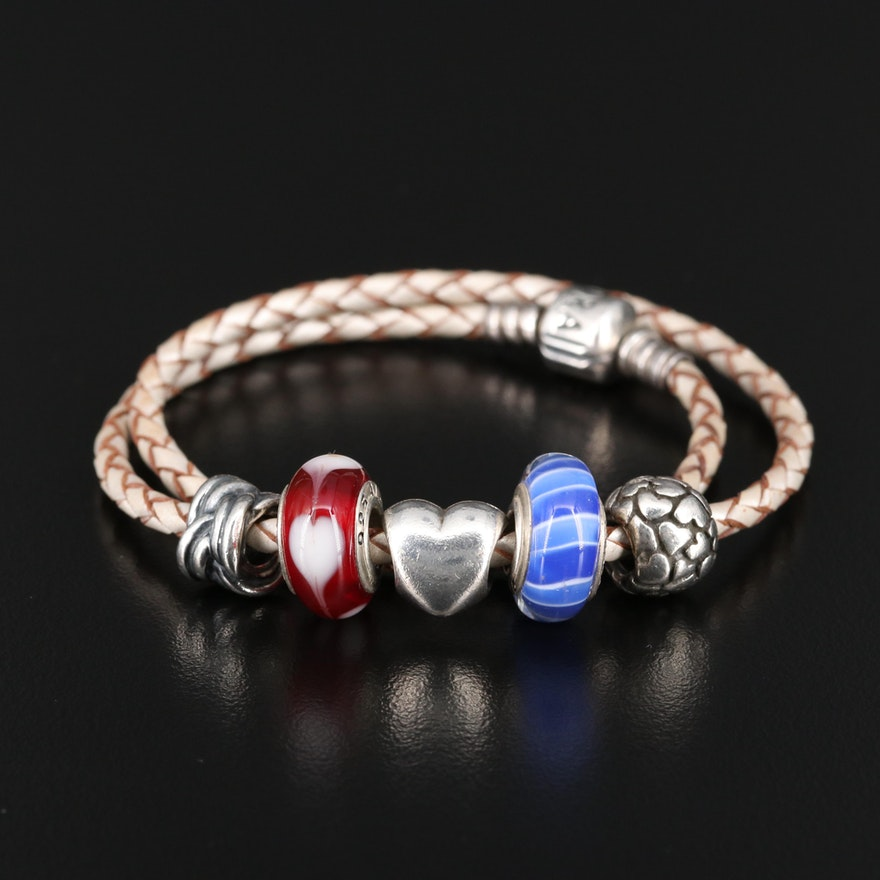 Pandora Charm Bracelet with Art Glass and Heart Charm
