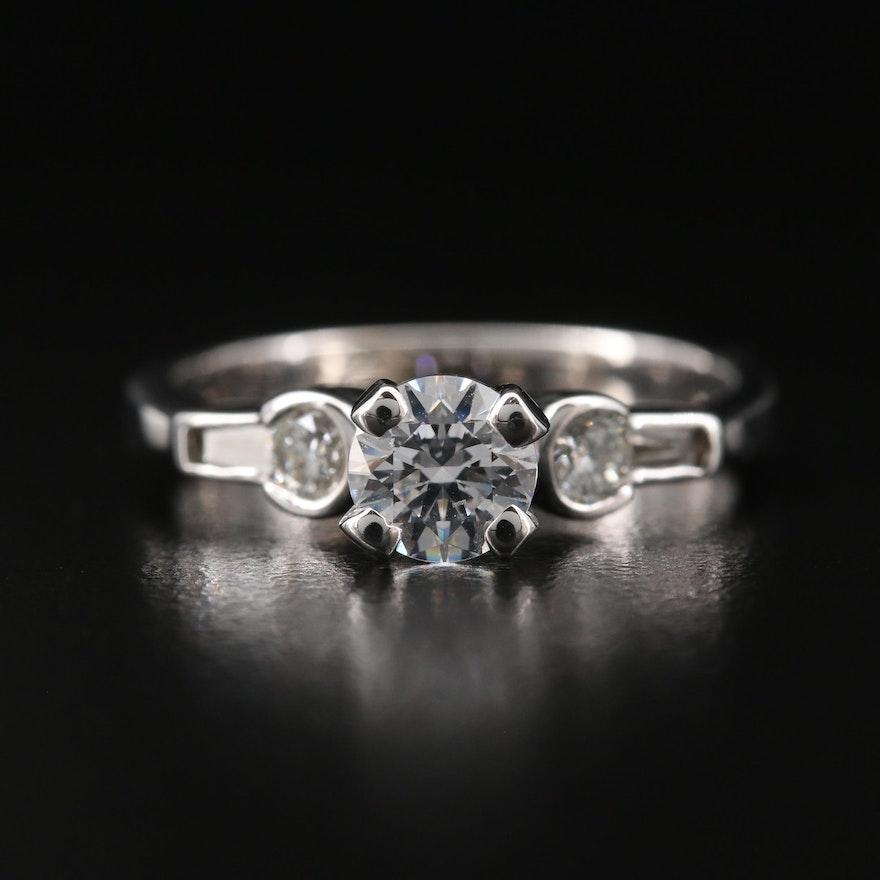 14K Diamond and Cubic Zirconia Ring