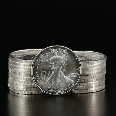 Roll of Twenty 2003 American Silver Eagle Bullion Coins