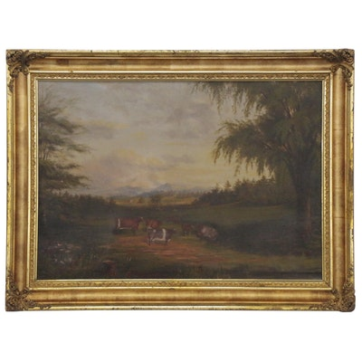Romantic Pastoral Landscape Oil Painting, Mid to Late 19th Century