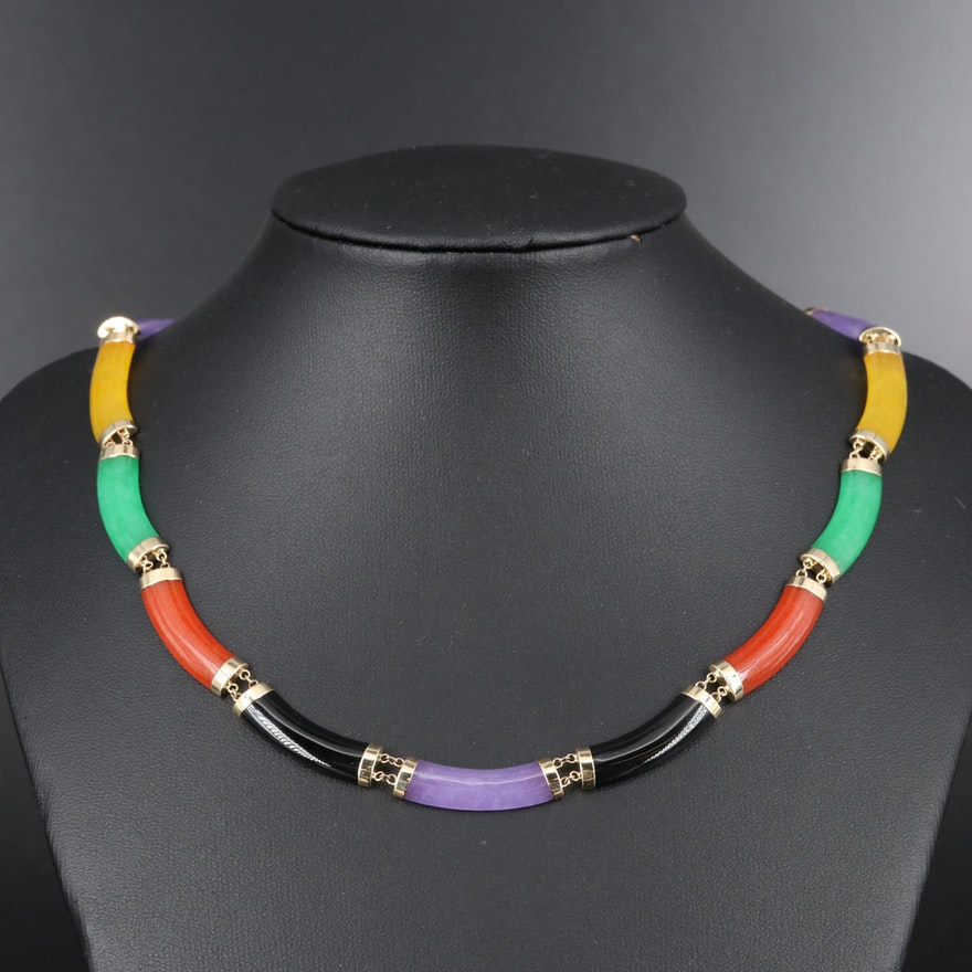 14K Onyx and Jadeite Curbed Bar Link Necklace