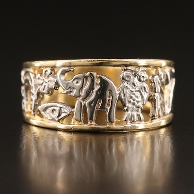 14K Two-Tone Good Luck Band