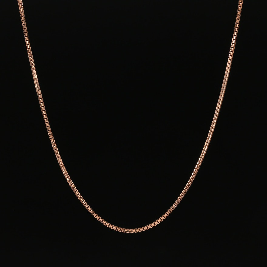 18K Rose Gold Box Chain Necklace