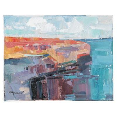 "Jose Trujillo Oil Painting ""Coastal Waters,"" 2020"