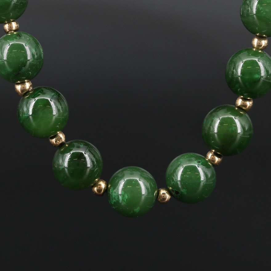 Nephrite Endless Necklace with 14K Spacer Beads