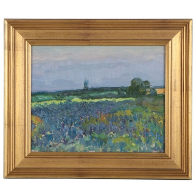 Impressionist Style Landscape Oil Painting Attributed to Fritz Köhler