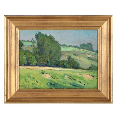 "Fritz Köhler German Landscape Oil Painting ""Borberg,"" 1913"